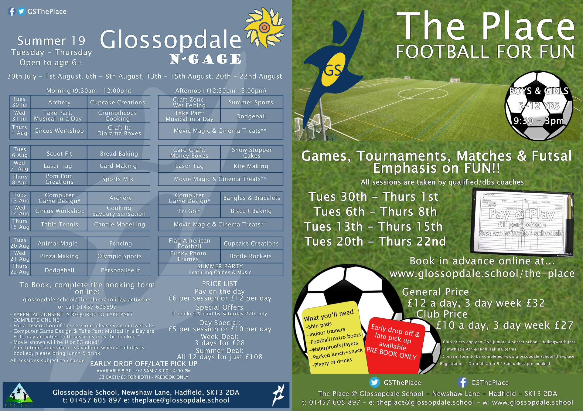 Glossopdale School - Holiday Activities